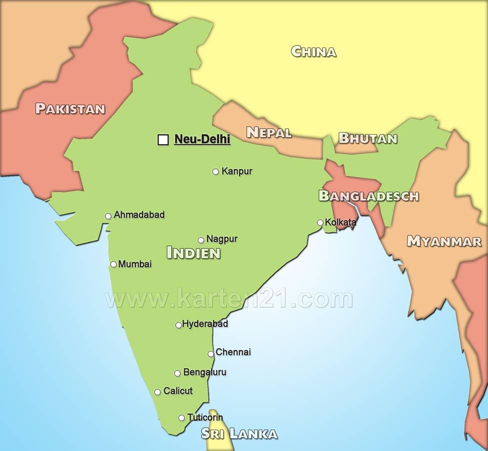 Landkarte indien politische karte